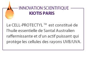 """Le CELL-PROTECTYL est constitué de l'huile essentielle de Santal Australien raffermissante et d""""un actif puissant qui protège les cellules des rayons UVB/UVA"""