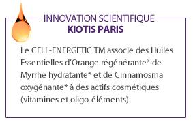 Le CELL-ENERGETIC associe des Huiles Essentielles d'Orange régénérante de Myrrhe hydratante et de Cinnamosma oxygénante à des actifs cosmétiques